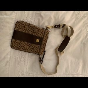 Coach Brown And Gold Cross Body Purse